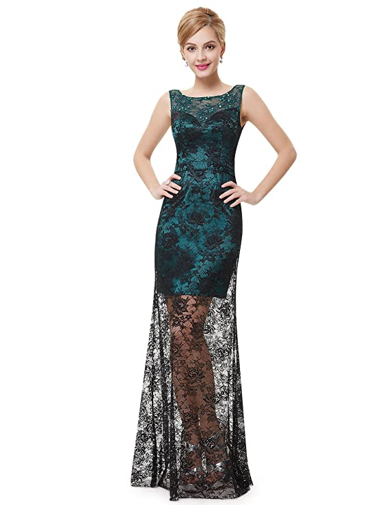 Ever Pretty Sleeveless Semi Sheer Hi-Lo Lace Cocktail Dress 08465