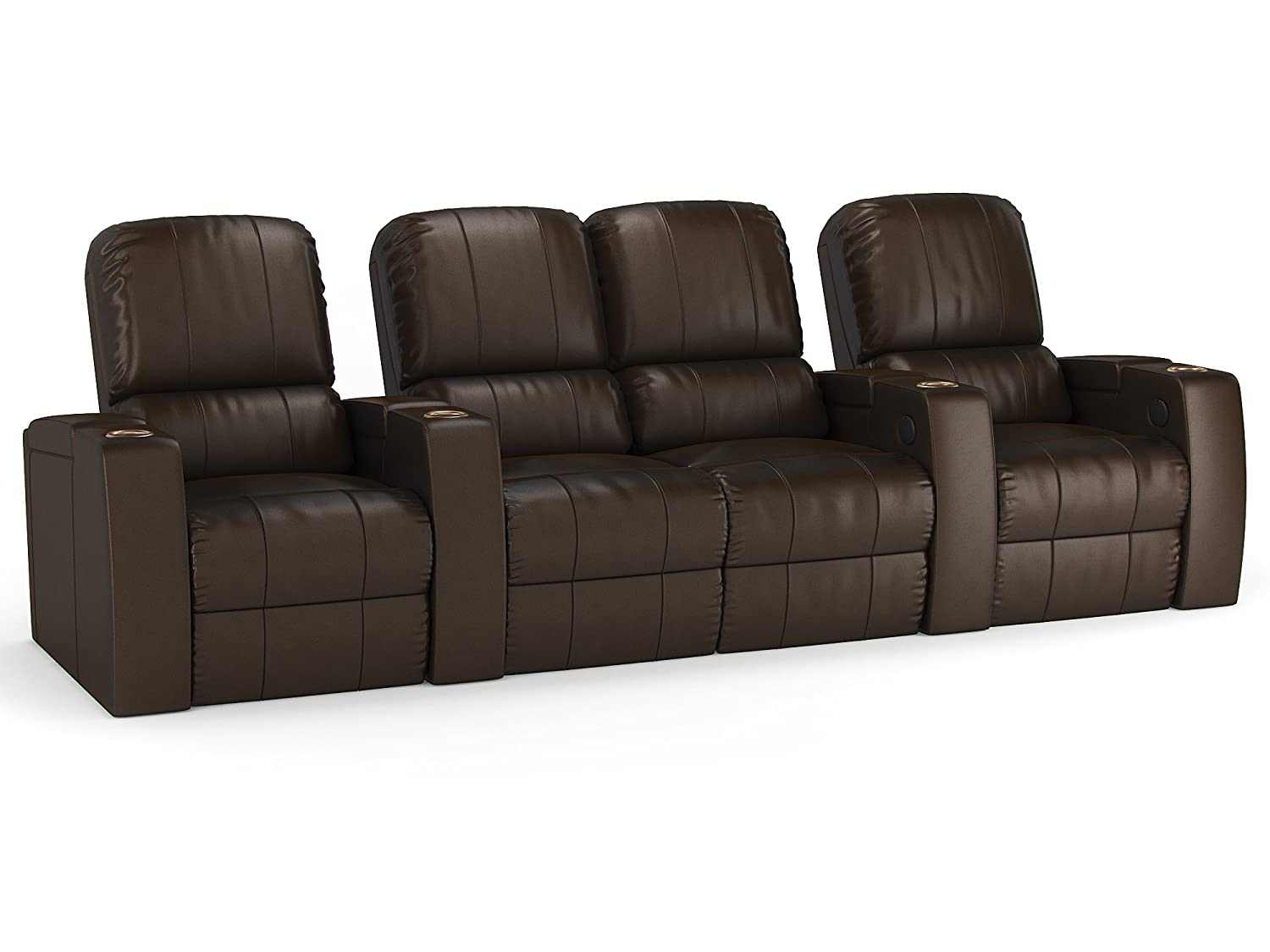 Octane Storm XL850 Row of 4 Seats with Middle Loveseat - Straight Row in Brown Leather with Power Recline