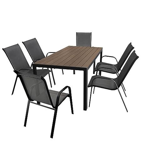Gartenmöbel-Set Aluminium Gartentisch mit Polywood-Tischplatte 150x90cm + 6x Stapelstuhl mit anthrazitfarbener Textilenbespannung, Gestell pulverbeschichtet Schwarz
