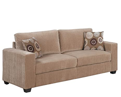 Homelegance Paramus 9738-3 Sofa and 2 Pillows, Brown/Corduroy