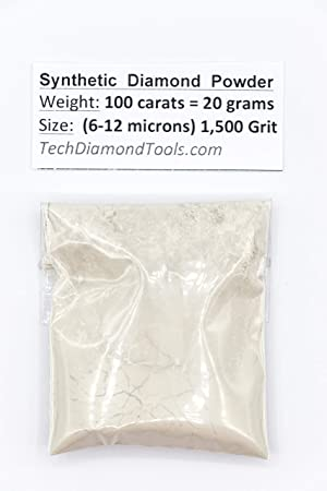 TechDiamondTools Diamond Powder 1.500 Grit 6-12 Microns -100ct,= 20 Grams (Color: 100 carats-20 grams, Tamaño: 1,500 grit / 6 - 12 microns)