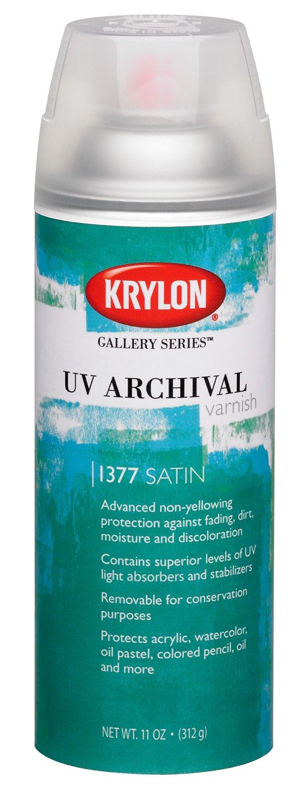Krylon K01377000 Gallery Series UV Archival Varnish Aerosol Spray, Satin, 11 Ounce (Color: Satin, Tamaño: 1 Can)