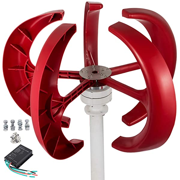 Happybuy Wind Turbine 300W 24V Wind Turbine Generator Red Lantern Vertical Wind Generator 5 Leaves Wind Turbine Kit with Controller No Pole (300W 24V, Red) (Color: Red, Tamaño: 300W 24V)