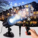 LYRABAY Christmas Snowflake Projector Light, Xmas LED Snowfall Projection Light with Remote Outdoor & Indoor Waterproof Sparkling Landscape Decorative Lights for Halloween Christmas New Year Party (Color: Black)