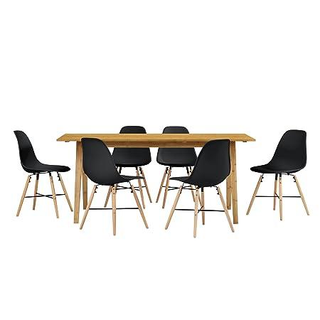 [en.casa] Table de salle à manger du bambou avec 6 chaises noir 180x80cm cuisine