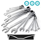 GEARDRIVE 13-piece Flex-Head Ratcheting Wrench Set - SAE Combination Wrench Set with Pouch