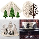 Set of 2 Christmas Tree Cake Fondant Molds, Silicone Little Fir Tree Branch Silhouettes Silicone Mold for Cake Cupcakes Decorating Sugarcraft Polymer Clay Epoxy Resin