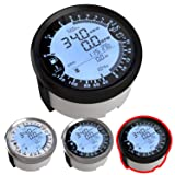 Atach 85MM Digital GPS Speedometer, Tachometer and MULTIMETER, 6 in 1 Functions (Black and Black Bezel) (Color: BLACK AND BLACK BEZEL)