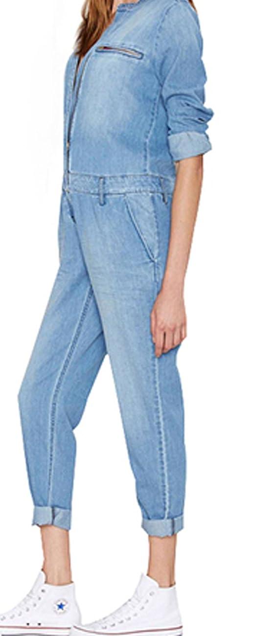 Darceil Women's Vintage Blue Long Sleeve Long Pants Denim Jumpsuit Overalls 2