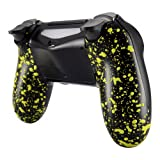 eXtremeRate Textured Bottom Shell, Comfortable Non-Slip Back Housing, 3D Splashing Case Cover, Game Improvement Replacement Parts for PS4 Slim Pro Controller JDM-040 JDM-050 JDM-055 (Yellow) (Color: Textured Yellow)