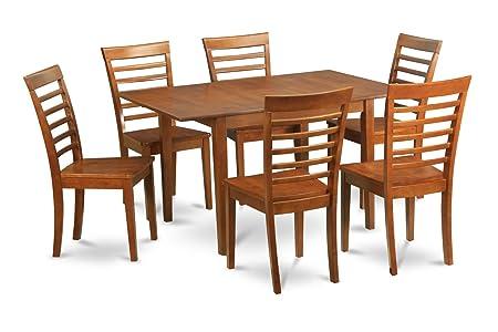 East West Furniture MILA7-SBR-W 7-Piece Dinette Table Set