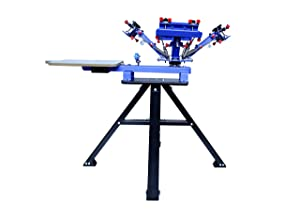 INTBUYING Micro-Registration 4 Color 1 Station Screen Printing Machine T-Shirt Printing Press with Stand (Color: blue, Tamaño: Micro-registration)