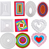 5 Sets Die Cuts Metal Cutting Dies Stencil, Buytra Nesting Dies for Card Making Scrapbooking Album Paper DIY Crafts - Rectangle, Square, Oval, Round, Heart Die Cutting, Total 32 Pieces (Color: 32 Pieces - 8pcs Rectangle + 8pcs Circles + 7pcs Square + 6pcs Oval + 3pcs Heart)
