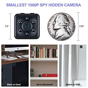 Mini Wireless Camera Action cop Cam - Cameras for Indoor or Outdoor Surveillance, Home Office or Car Video Recorder with 1080p HD Recording and Night Vision - 1 Cubic Inch by i-Mate