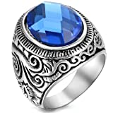 Flongo Men's Vintage Stainless Steel Statement Ring Celtic Knot Blue Glass Class Band, Size 10