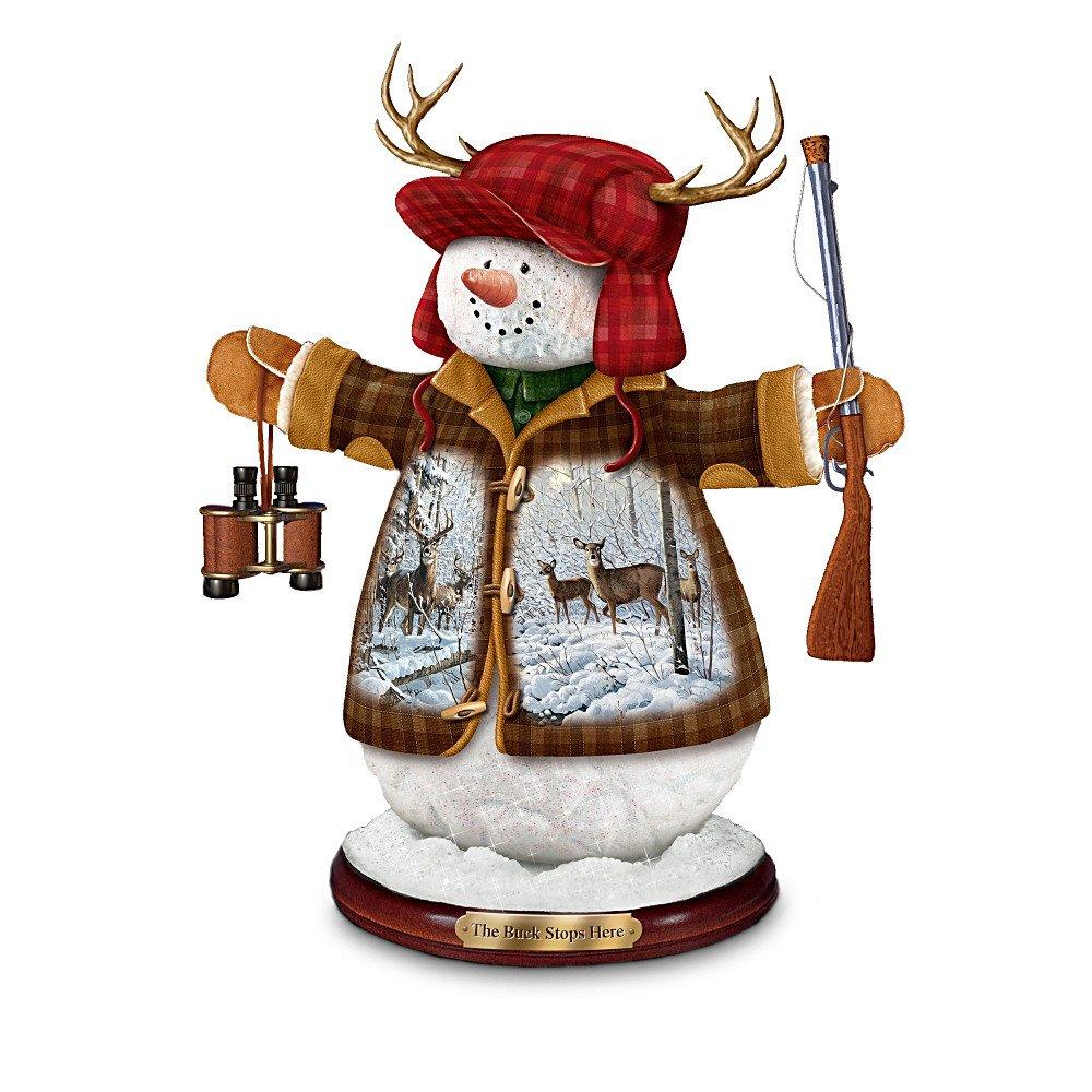 Deer Hunters Christmas Tabletop Snowman Figurine: The Buck Stops Here by The Bradford Exchange