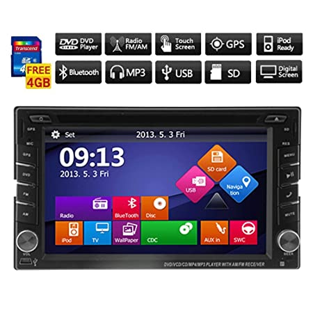 "Windows8 UI 6.2"" Double 2Din TFT Touch HD Screen 800*480 In-Dash Car DVD Player GPS Navigation Bluetooth iPod Analog TV 3D Interface+Free Free 4GB Official Kudos Map Card for Western Europe"