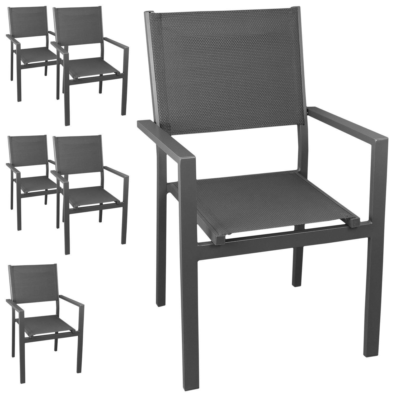 6 Stück Aluminium Gartenstuhl Stapelstuhl mit hochwertiger 4x4 Textilenbespannung, stapelbar, grau/grau - Gartensessel Bistrostuhl Stapelsessel Balkonmöbel Gartenmöbel Terrassenmöbel Sitzmöbel Gartenstühle