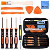 Vastar T6 T8 T10 Xbox One Screwdriver Set, 12 in 1 Xbox Repair Kit for Xbox One Xbox 360 Controller and PS3 PS4 Controller with Cross Screwdriver 1.5, Safe Pry Tools, Cleaning Brush & Cloth in EVA Bag (Color: Brown)