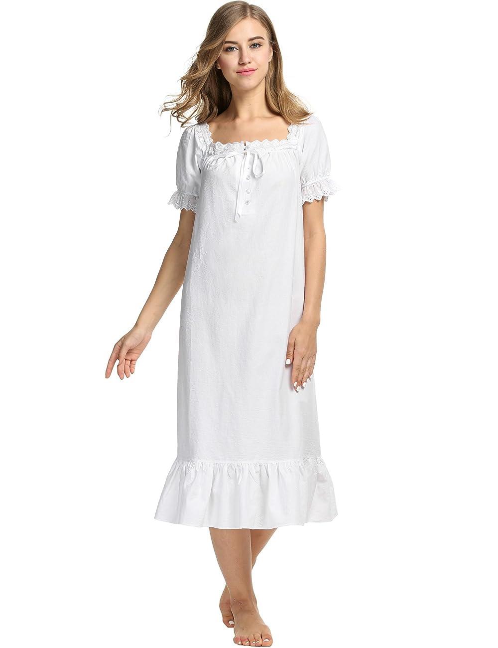 Avidlove Womens Cotton Victorian Vintage Short Sleeve Nightgown Sleepwear 1