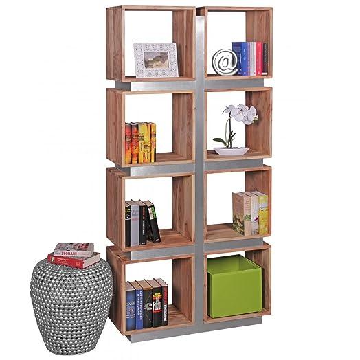 Libreria design Guna in legno massiccio acacia 180x 85x 30cm