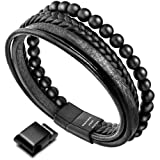 murtoo Leather Bracelet Magnetic-Clasp Cowhide Braided Multi-Layer Wrap Mens Bracelet, 7.5''-8.7'' (Black Bead)