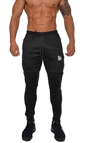 932898f9b13 YoungLA Track Pants for Men Workout Athletic Gym Joggers Lightweight  Training Sweatpants Tapered Fit 205 Black ...