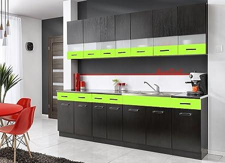 Komplette Kuche MAMBE-SCHWARZ 260 cm verschiedene Farbkombinationen Hochglanz (schwarz - grun)