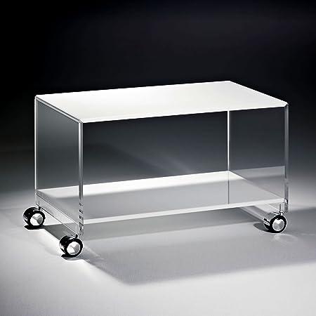 Hochwertiger Acryl-Glas Couchtisch mit 4 Chromrollen, Tischplatte und Unterboden weiß, Seiten klar, 63 x 38 cm, H 40 cm, Acryl-Glas-Stärke 12 mm