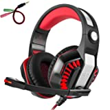 Beexcellent GM-2 Pro Gaming Over-Ear Headset with Mic, LED Lights and Volume Control Stereo Bass, Noise Cancelling, 3.5mm, for PS4 Xbox One, Laptop, PC, Tablet, Most Smartphones (Red) (Color: Red)