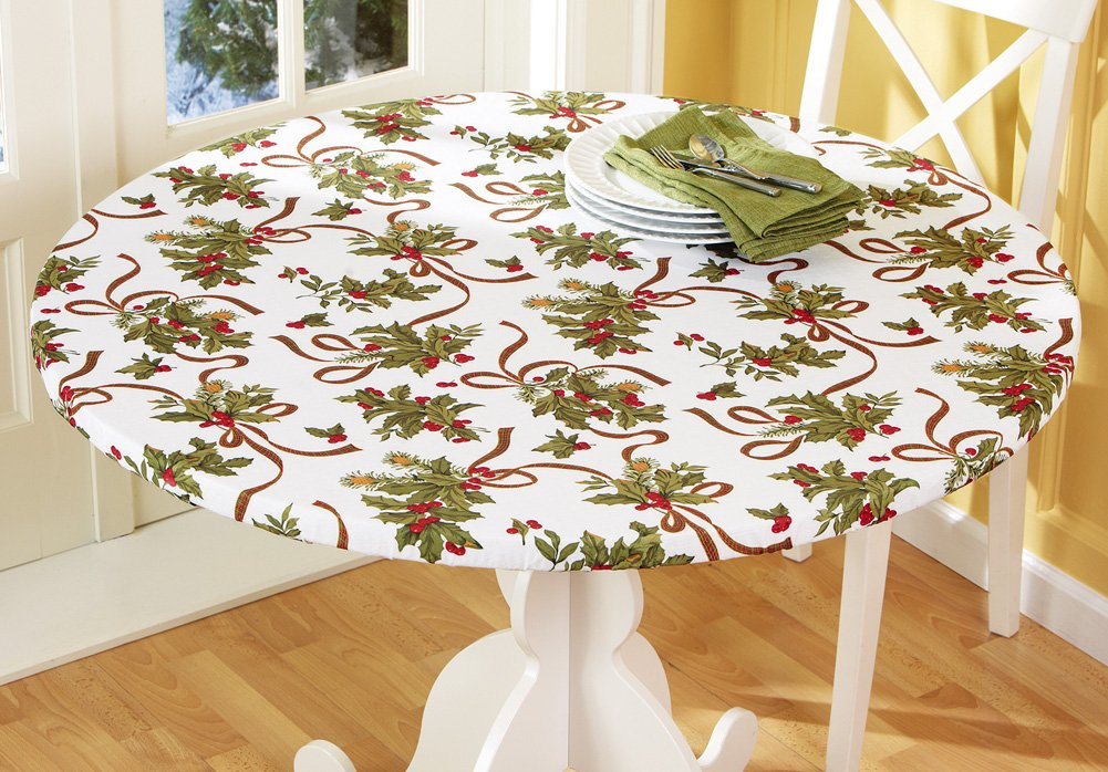 Elasticized Christmas Holiday Tablecloth 54X78