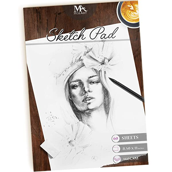 Sketch Pad - 60 Sheets, 8.5 x 11 Inches, 160gsm - Premium Quality, Smooth, Thick Drawing Paper for Your Art Supplies - Perfect for Sketching, Stenciling, Art Journal and More - Mozart Supplies (Color: Sketch Pad)