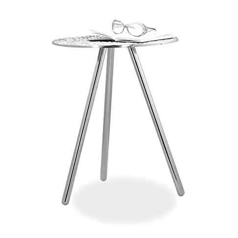 Relaxdays 10021129 Tavolino a Tre Gambe in Stile, Metallo, Argento, 43.5 x 43.5 x 54 cm