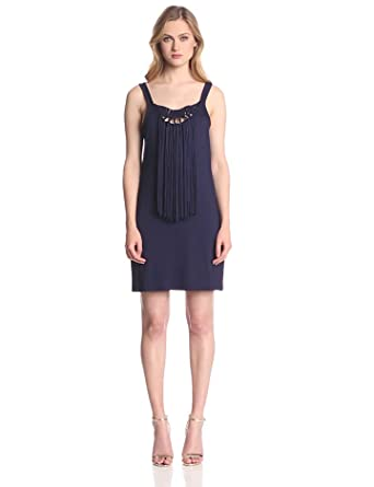 Trina Turk Women's Althea Must Have Jersey Fringe Dress, Midnight, Petite