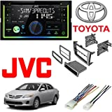 JVC KW-R930BTS 2-Din in-Dash Car Stereo CD Player w/Bluetooth/USB/iPhone/Sirius Car Radio Stereo Single 2Din Grey Dash Kit Harness for 2009-2013 Toyota Corolla