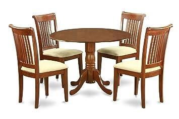 East West Furniture DLPO5-SBR-C 5-Piece Kitchen Table Set, Saddle brown Finish