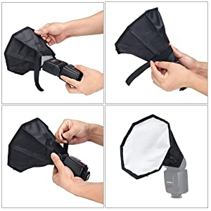 waka Flash Diffuser Light Softbox, [2 Pack] Flash Diffuser Kit Collapsible with Storage Pouch - 8 Octagon Softbox  8x6 Softbox for Canon, Yongnuo,