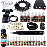 Solong Tattoo Hybrid Tattoo Pen Kit 2-In-1 Rotary Tattoo Machine & Permanent Makeup Pen 20 Needle Cartridges Ink Set Power Supply Foot Pedal Skin Caps EK101-1 (Color: Black)