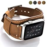 Coobes Compatible with Apple Watch Band 44mm 42mm Men Women Genuine Leather Compatible iWatch Bracelet Wristband Strap Compatible Apple Watch Series 4/3/2/1(Crazy Horse Cuff Brown) (Color: Crazy Horse Cuff Brown, 44/42mm, Tamaño: 6.89