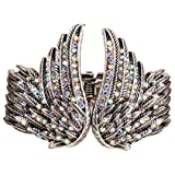 YACQ Women's Guardian Angel Wings Hinged Bangle Bracelets Crystal Costume Jewelry Accessories (Color: White)