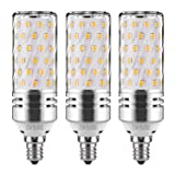 GEZEE E12 LED Corn Bulbs,15W LED Candelabra Light Bulbs 120 Watt Equivalent, 1500lm, Warm White 3000K LED Chandelier Bulbs, Decorative Candle, 4.1in2.1in, Non-Dimmable LED Lamp(3-Pack) (Color: E12/3000k/15w, Tamaño: 15Watt/3Pack)