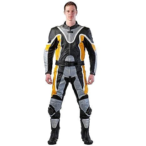 Lemoko motorradkombi combinaison 2 pièces en cuir noir/jaune taille taille s à 4XL