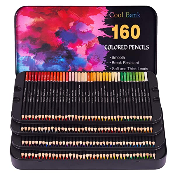 160 Professional Colored Pencils, Artist Pencils Set for Coloring Books, Premium Artist Soft Series Lead with Vibrant Colors for Sketching, Shading & Coloring in Tin Box (Color: 160PCS)