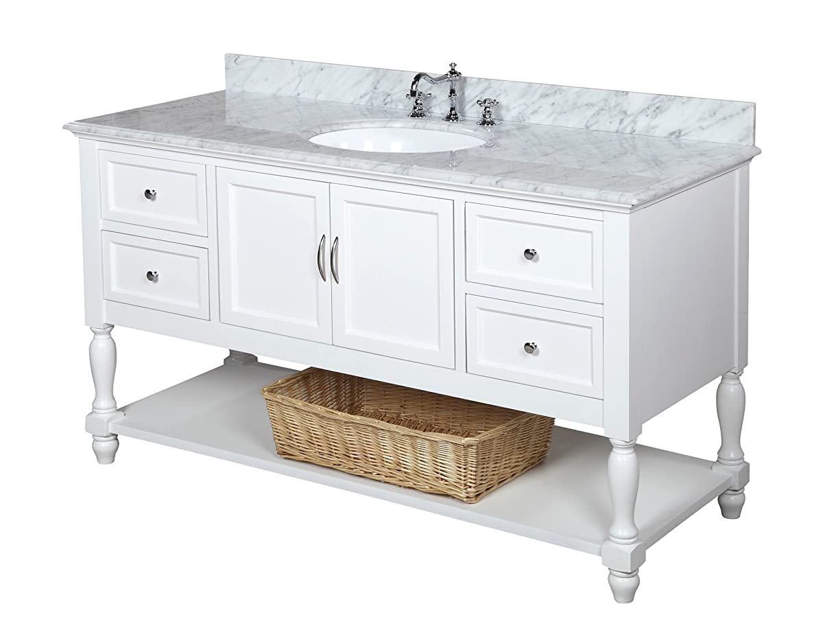 """Kitchen Bath Collection KBC227WTCARR Beverly Single Sink Bathroom Vanity with Marble Countertop, Cabinet with Soft Close Function and Undermount Ceramic Sink, Carrara/White, 60"""""""