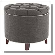 Round Tufted Ottoman in Charcoal Grey Fabric