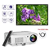 HD LED 3600 Lumens Video Projector Home Theater Gaming System 200 Inch Outdoor 1080P USB HDMI RCA VGA Speakers Zoom Keystone Remote for iPhone YouTube Netflix Xbox DVD Player Cable TV Laptop PC PS4 (Color: 2 HDMI HD Video Projector,3600Lumen)