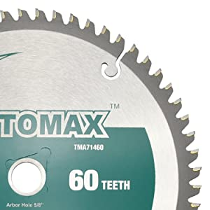 TOMAX 7-1/4-Inch 60 Tooth TCG Aluminum and Non-Ferrous Metal Saw Blade with 5/8-Inch DMK Arbor (Color: Silver, Tamaño: 7-1/4'' 60T)
