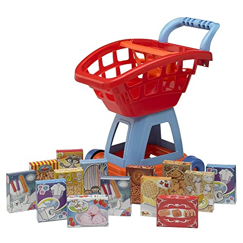 American Plastic Toy 15 Piece Deluxe Shopping Cart with Play Food