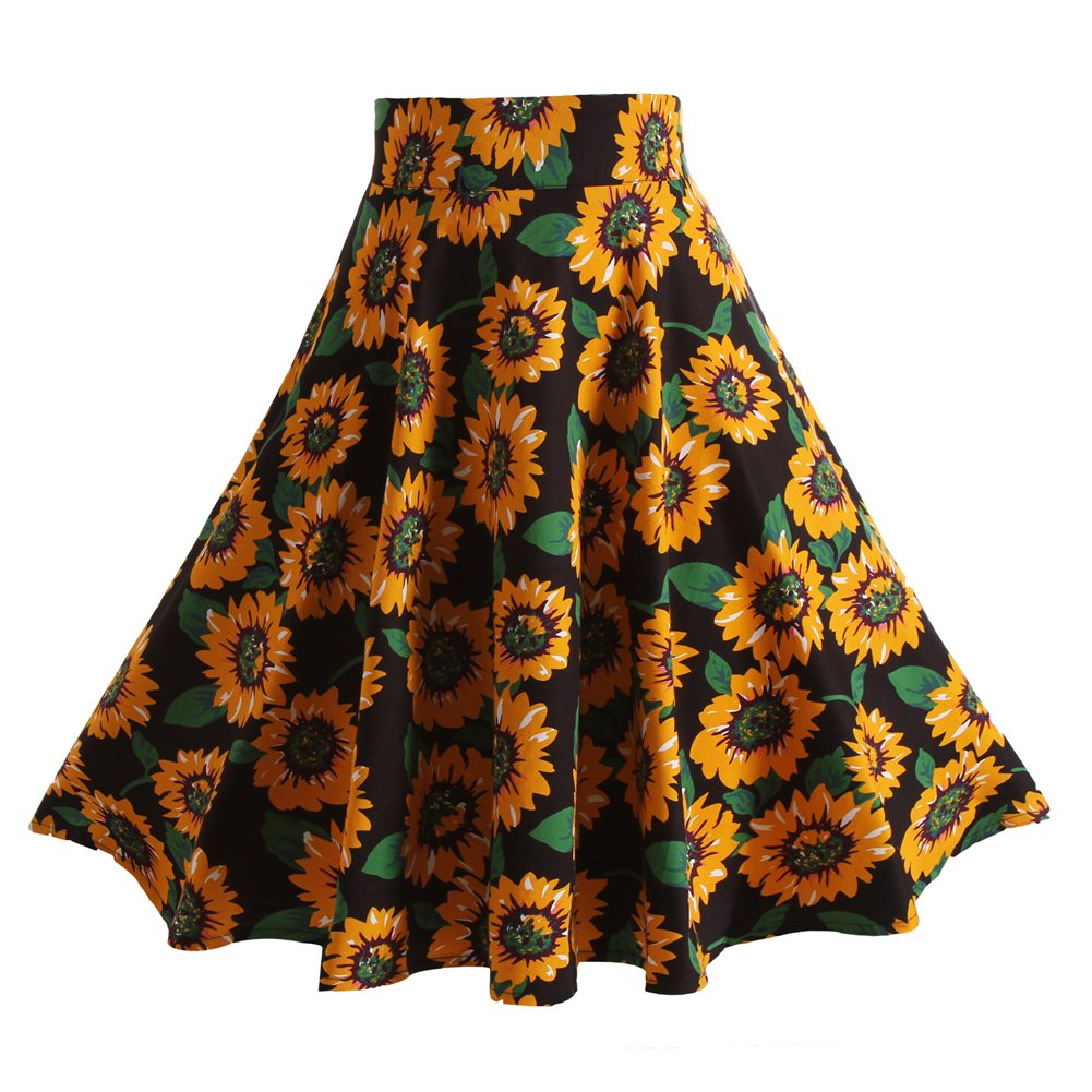 Fancyqube(TM) Women Pleated Vintage Skirts Floral Print Midi Skirt 0