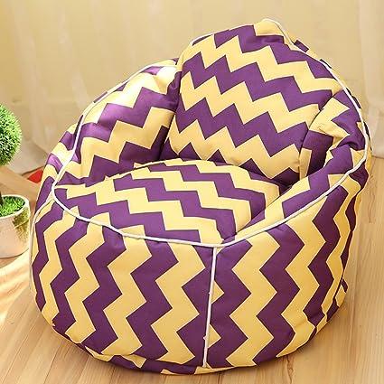 Kreative faule Sofa Einzel kreative Erwachsene Schlafzimmer Kleine Sofa, Stuhl, Bett Stuhl Exklusive Design herausnehmbar, waschbar ( Farbe : Purple Yellow )